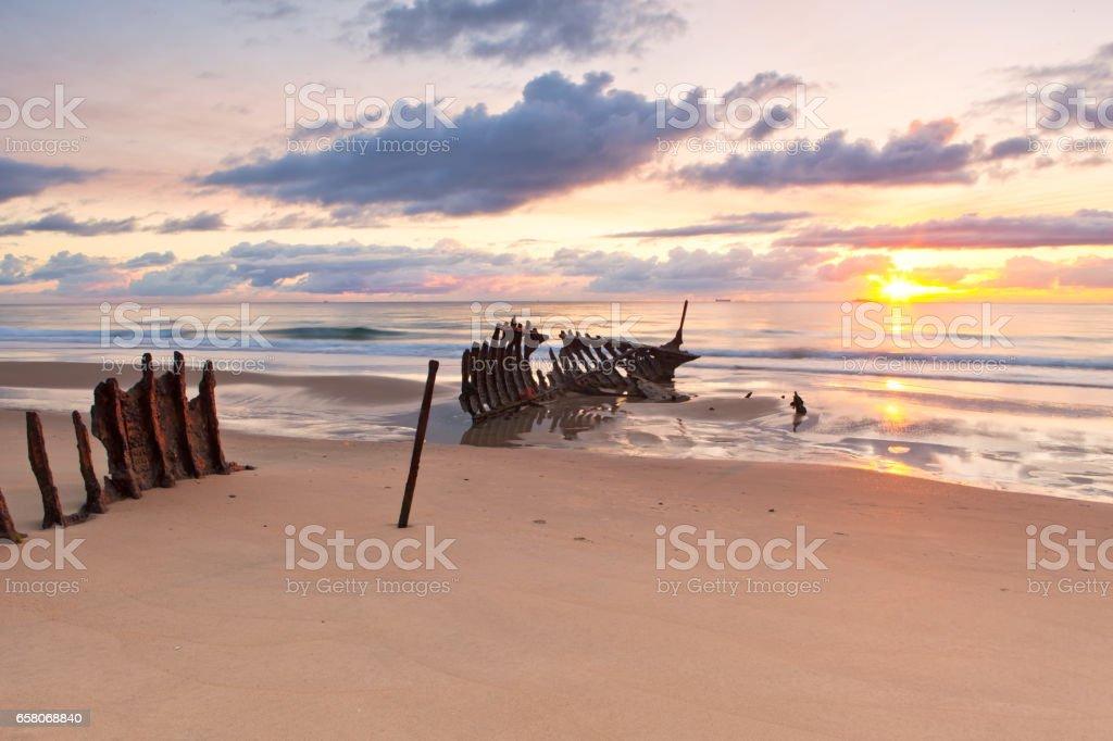 The Dicky Beach Shipwreck on Queensland's Sunshine Coast in Australia stock photo