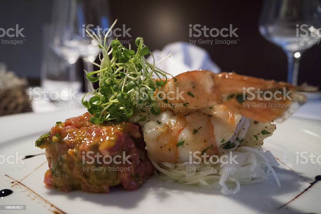 the different surf and turf stock photo