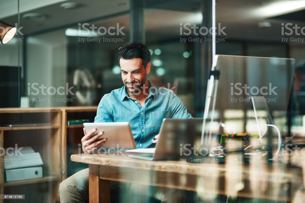The digital worker gets things done stock photo