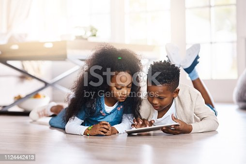 Shot of two adorable little siblings using a digital tablet together at home