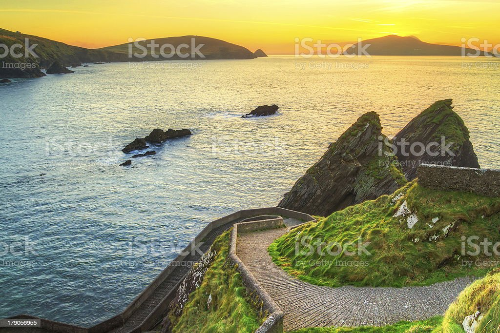 The Dingle Peninsula in Ireland as seen on sunset stock photo