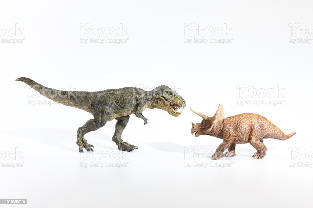 The dinosaur tyrannosaurus in action with white background stock photo