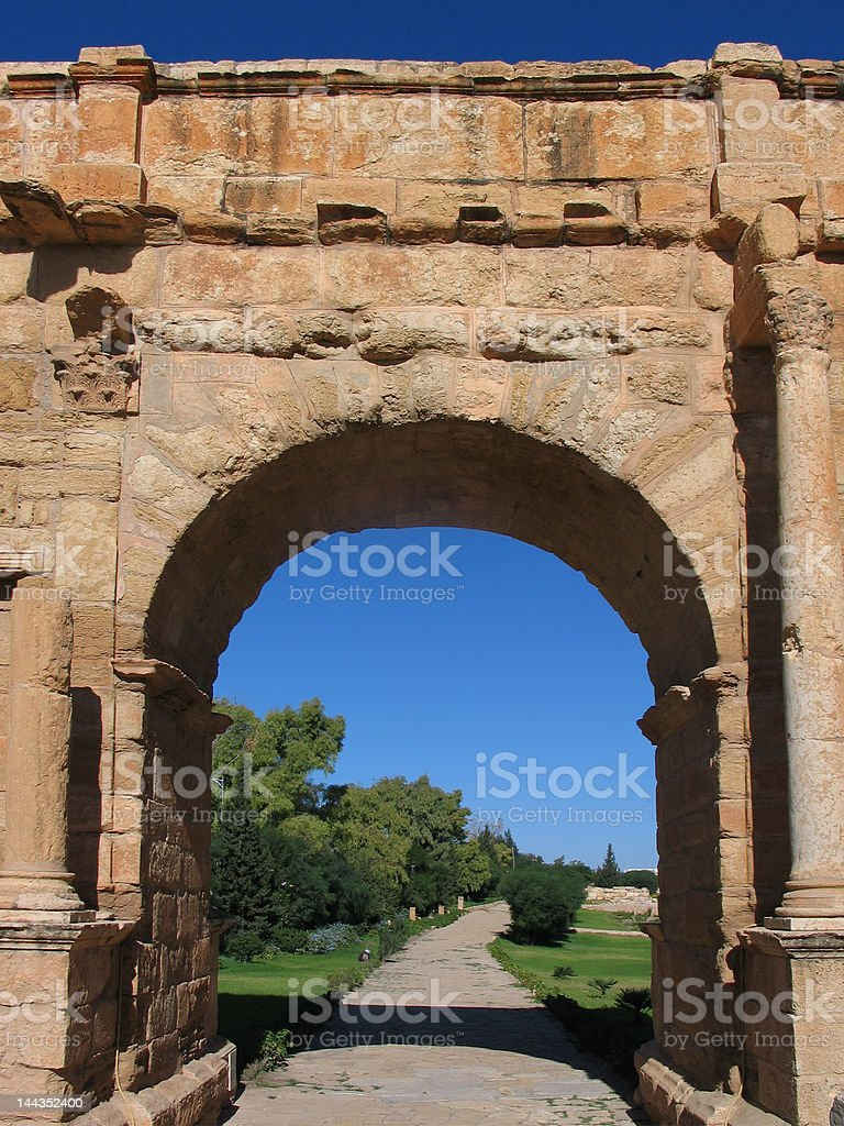 The Diocletian Arch in Sufetula royalty-free stock photo