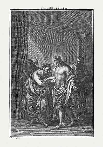 The disbelieving Thomas (John 20, 24-29), copper engraving, published c.1850 – Foto
