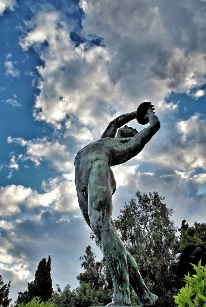 The Discobolus (opposite the Kallimarmaron Stadium -Athens,Greece) stock photo