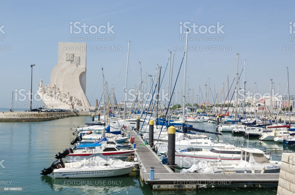 The discovery monument by the harbor in Lisbon stock photo