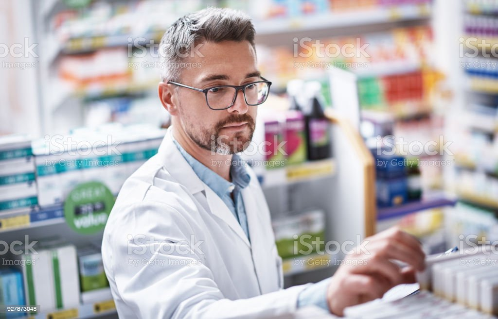 The dispensary is his domain stock photo