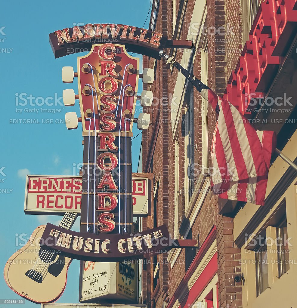 The District Music City Downtown in Vintage Nashville, TN stock photo