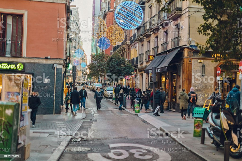 the district of Chueca in Madrid stock photo