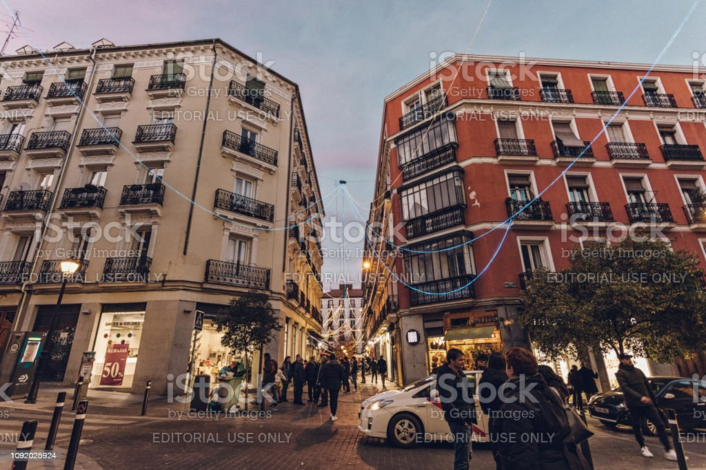 the district of Chueca is buzzing with people stock photo