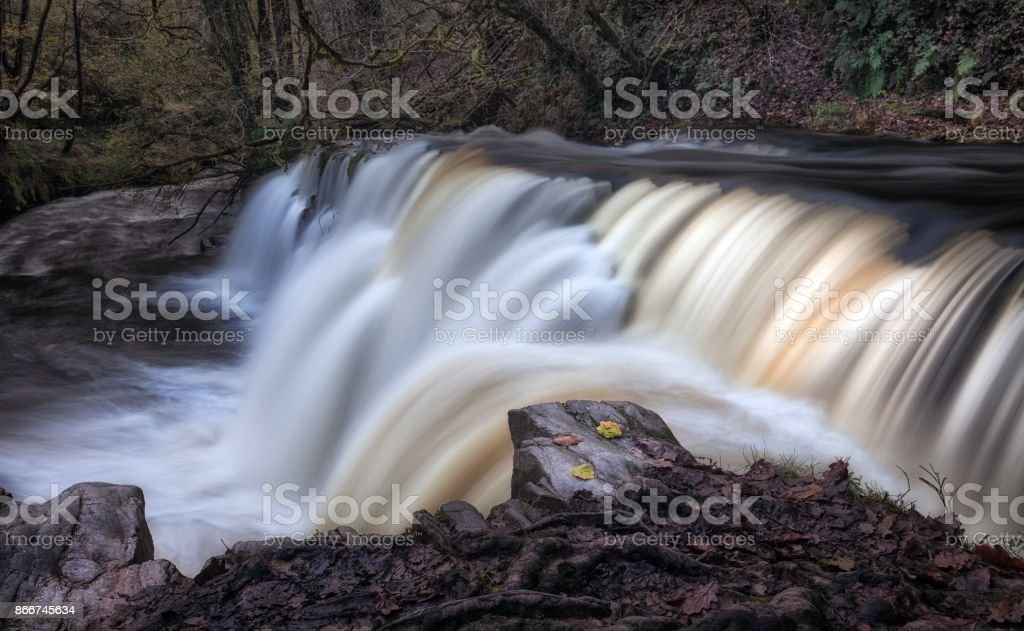The diving board at Sgwd y Pannwr Waterfall stock photo