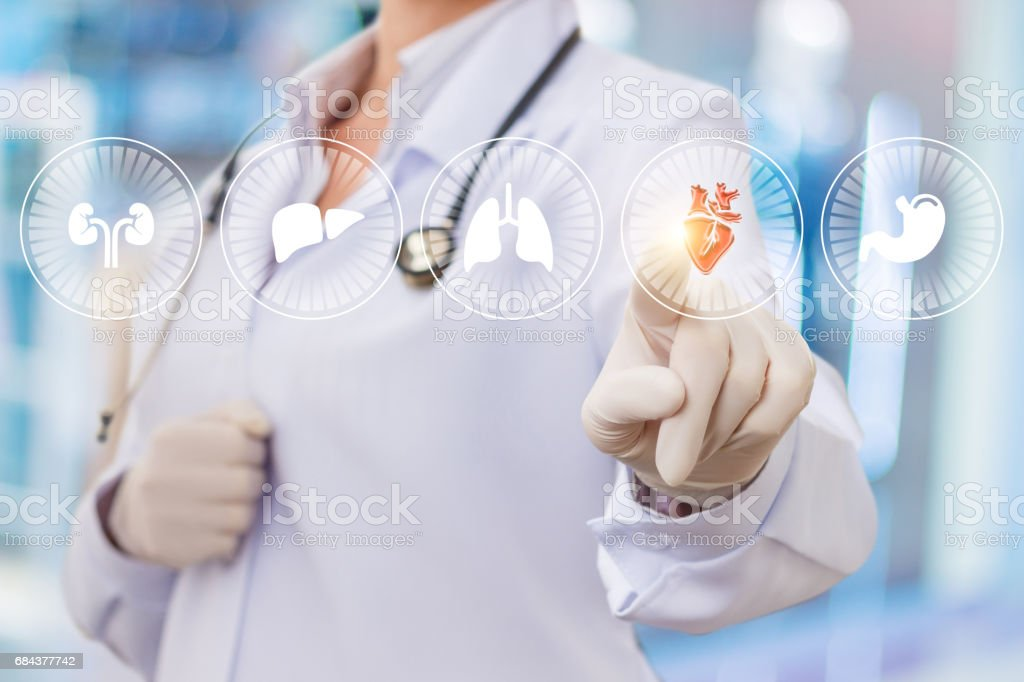 The doctor clicks on the heart icon. stock photo