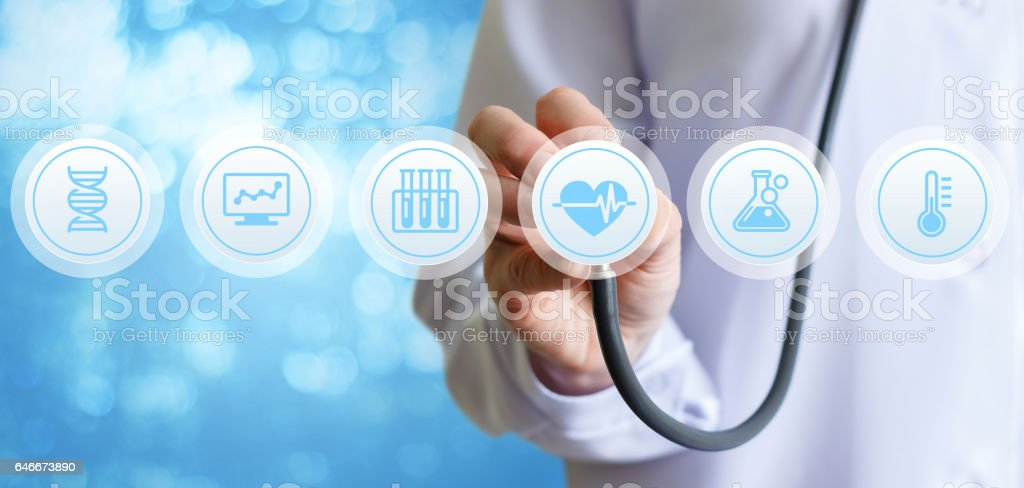 The doctor listens and diagnoses. stock photo