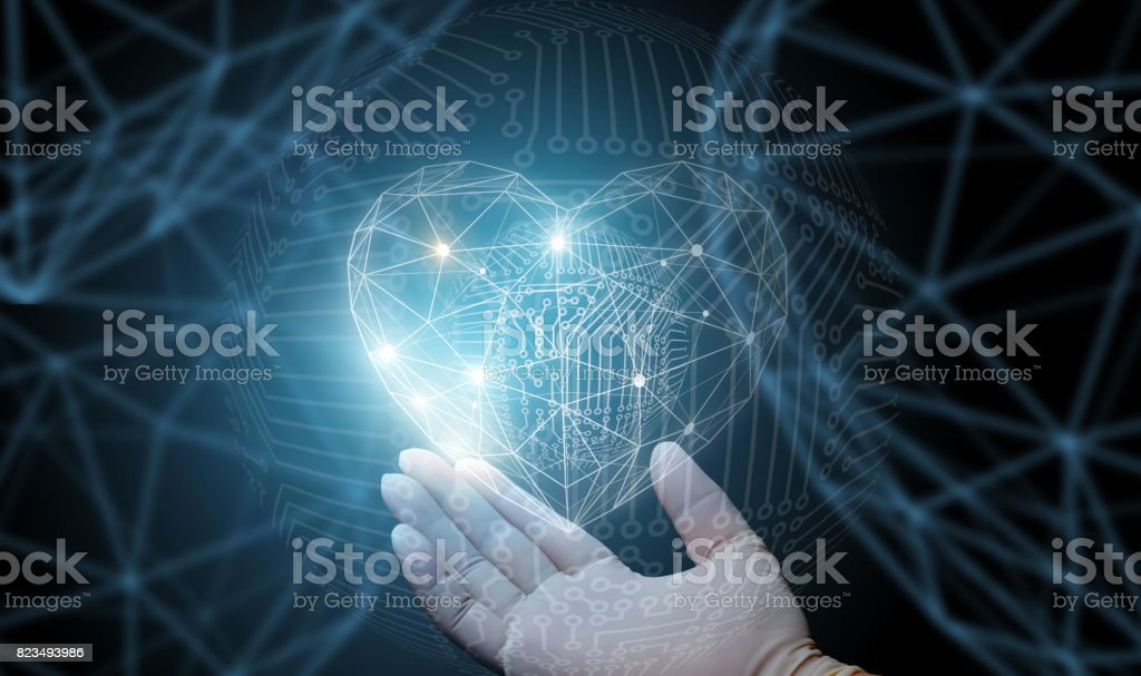 The doctor's hand shows abstract heart . stock photo