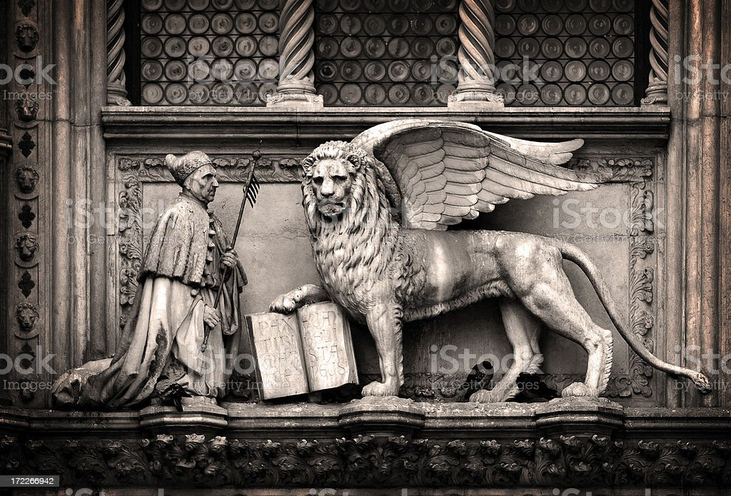 the doge of venice and lion stock photo