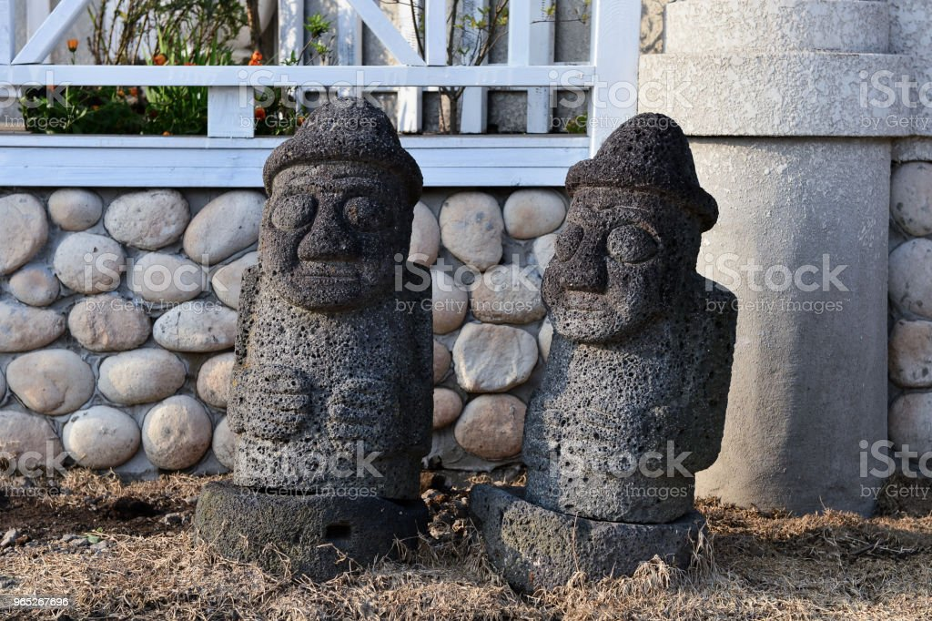 The dol halubang is meaning of Grandfather made by black basalt. That is Jejudo Island dialect. royalty-free stock photo