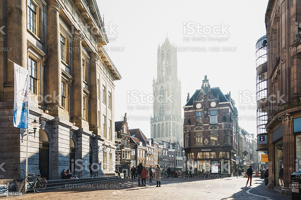 The Dom Tower in the historic center of Utrecht stock photo