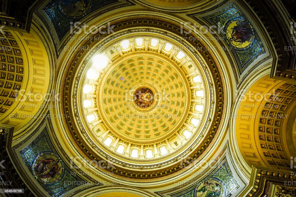 The dome inside the State capitol building, Madison Wisconsin stock photo