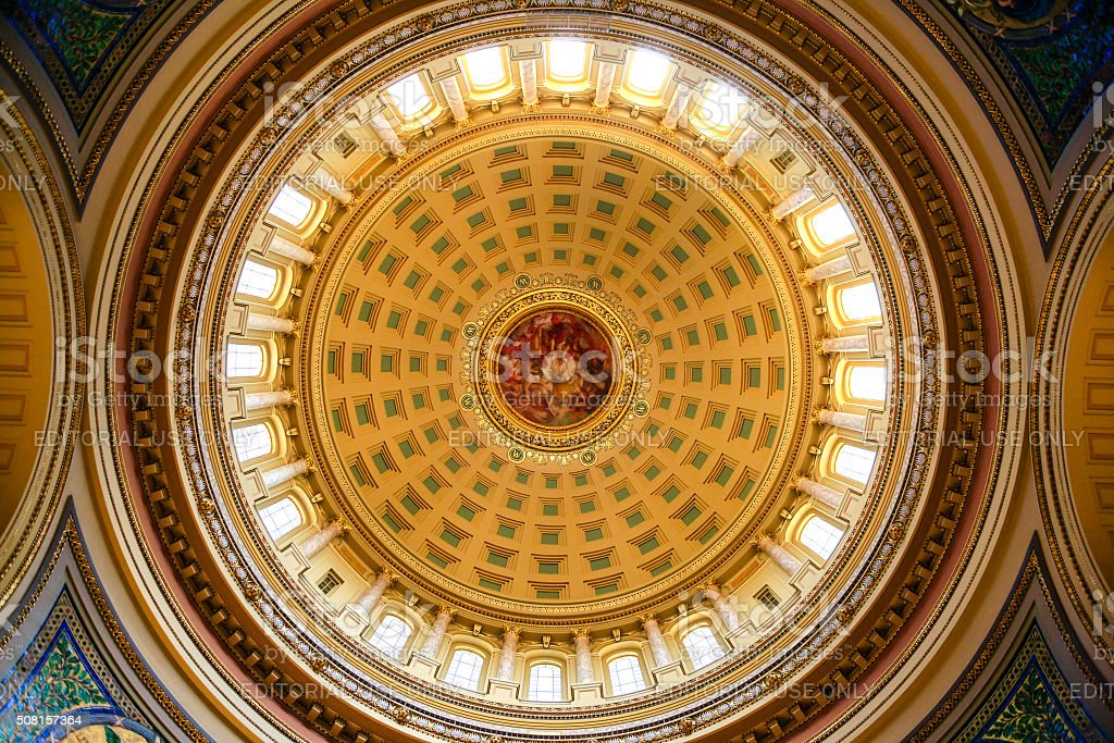 The dome inside the Wisconsin State Capitol building in Madison stock photo