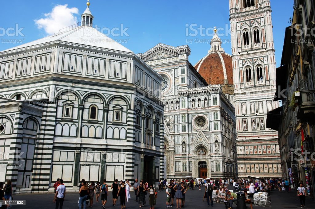 The Dome of Florence and the Baptisery stock photo