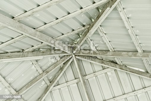 Dome made of tin gray sheets and wooden beams on a Sunny day