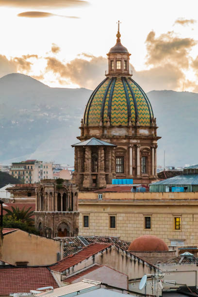 The dome of the baroque Church of Saint Joseph of the Theatine Fathers, Chiesa di San Giuseppe dei Padri Teatini, in Palermo. stock photo