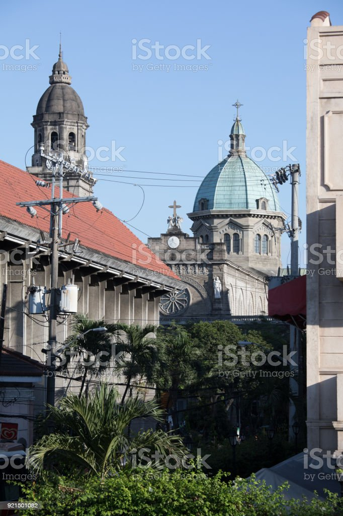 The dome of the Manila Cathedral, in Intramuros, Manila stock photo
