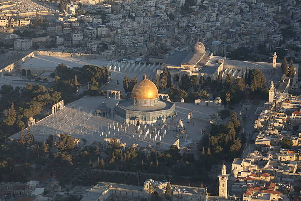 The Dome of the Rock Aerial view of the Dome of the Rock mosque in Jerusalem dome of the rock stock pictures, royalty-free photos & images