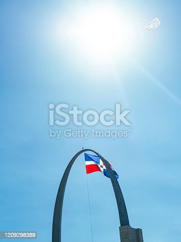 istock The Dominican flag and the sun 1209298389