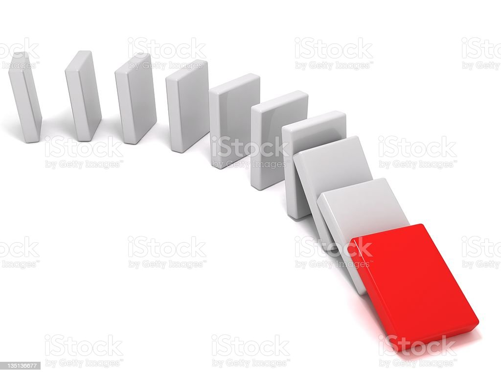 The domino effect stock photo