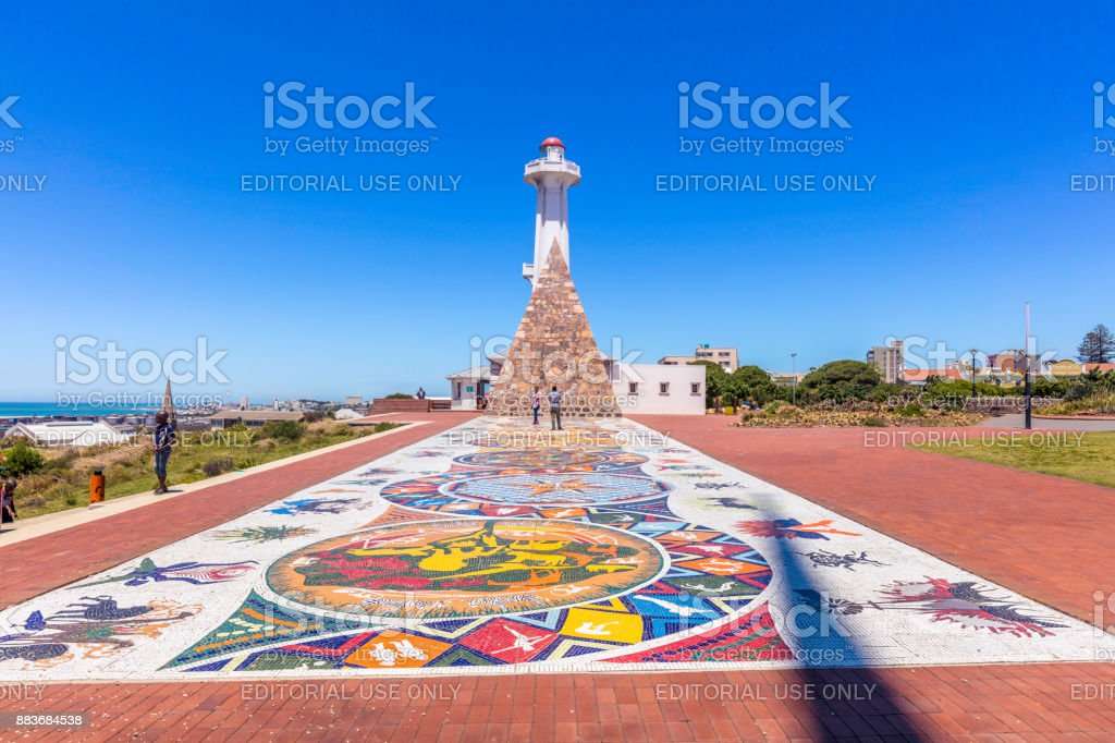 The Donkin lighthouse and a stone pyramid, in Port Elizabeth stock photo
