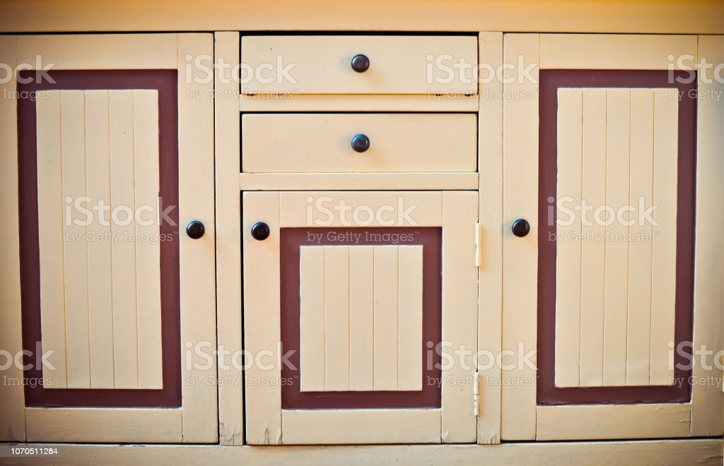 The Door Of A Vintage Kitchen Cabinet Closeup Front View Space For Text Stock Photo Download Image Now Istock