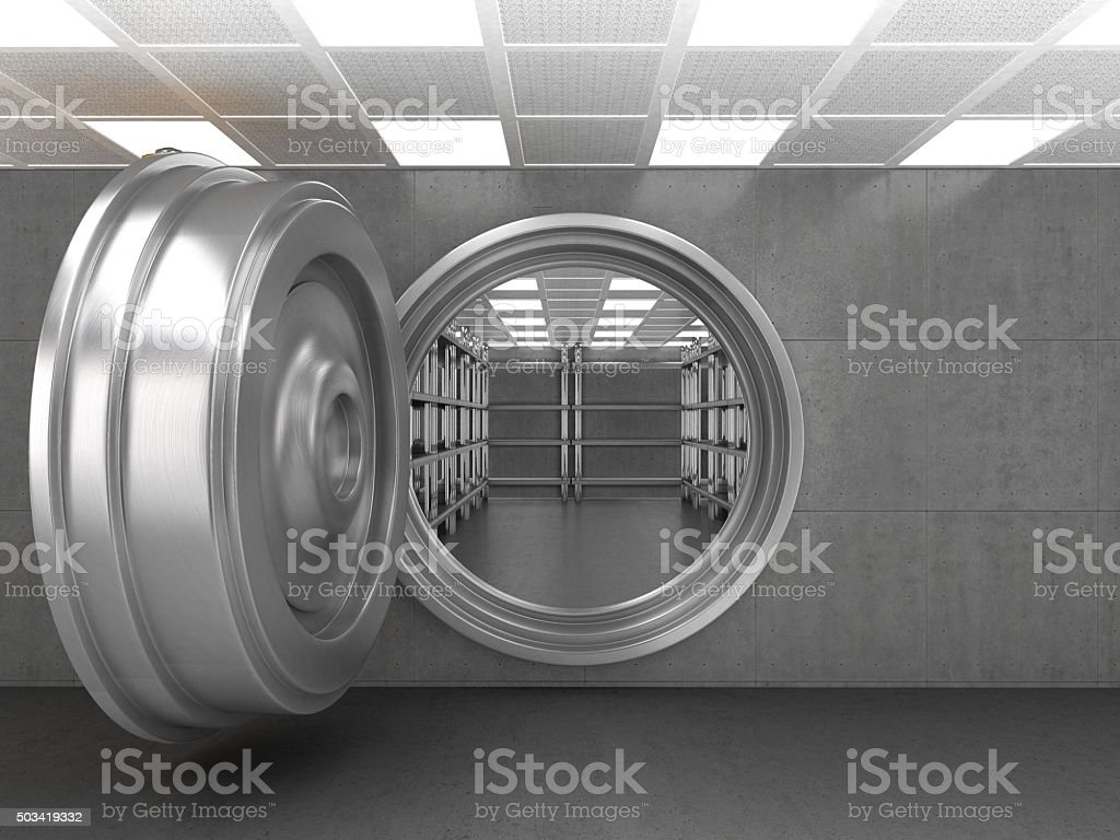 The doorway of a bank vault stock photo
