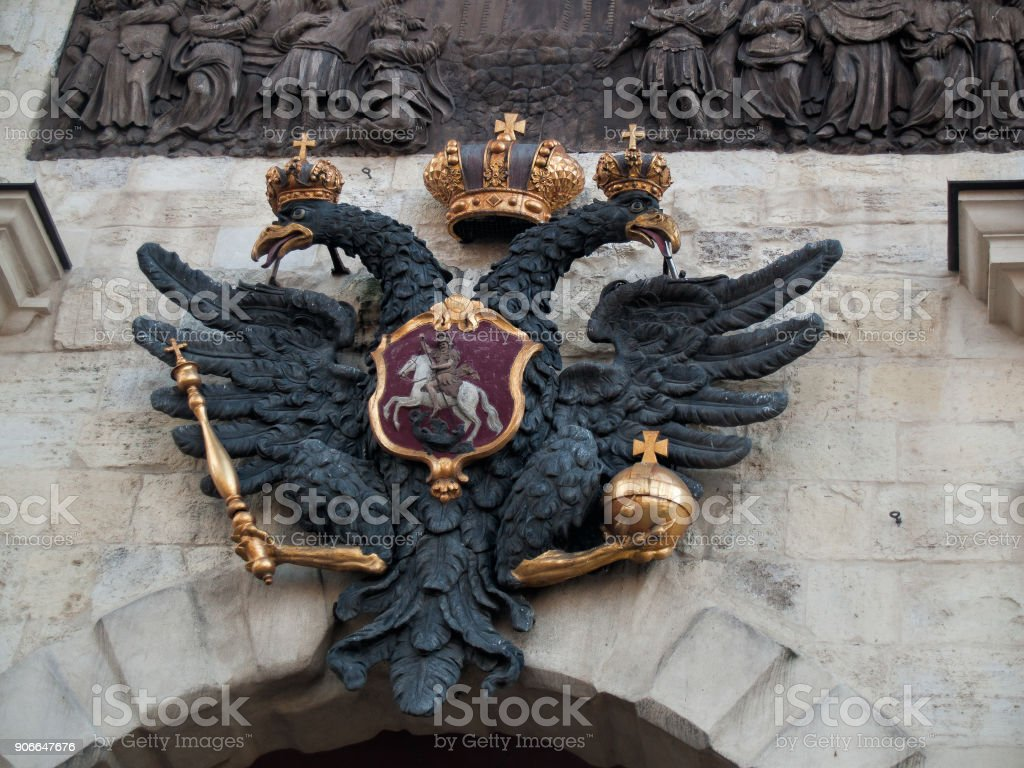 The double-headed imperial eagle over the gates in the Peter and Paul Fortress in St. Petersburg stock photo