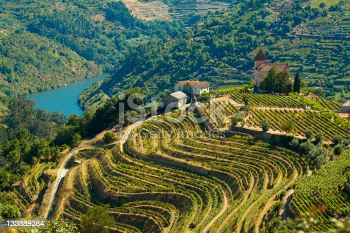 The Douro, Portugal - August 15, 2011: Image captured from the road some kilometers to the west of Oporto, the image shows the Douro river and his vinyards.