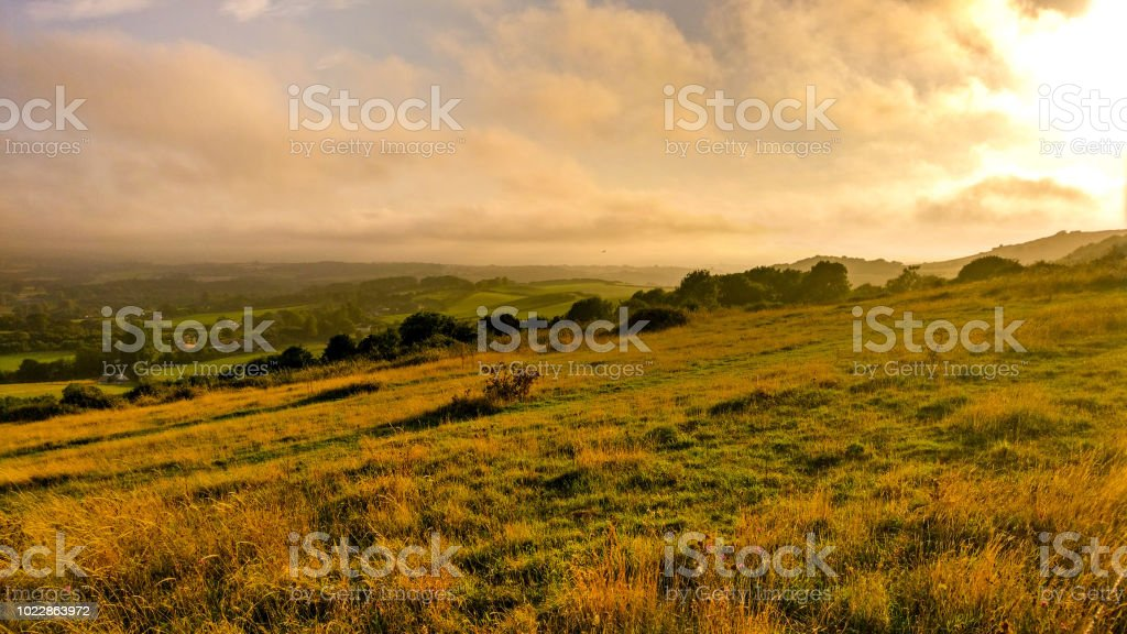 The downs at sunset stock photo