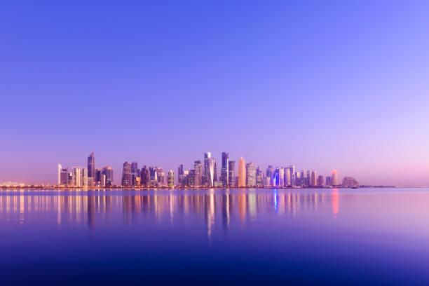 The Downtown Doha City Skyline at Sunset, Qatar stock photo