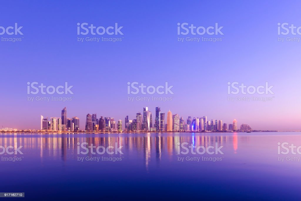 The Downtown Doha City Skyline at Sunset, Qatar stock photo