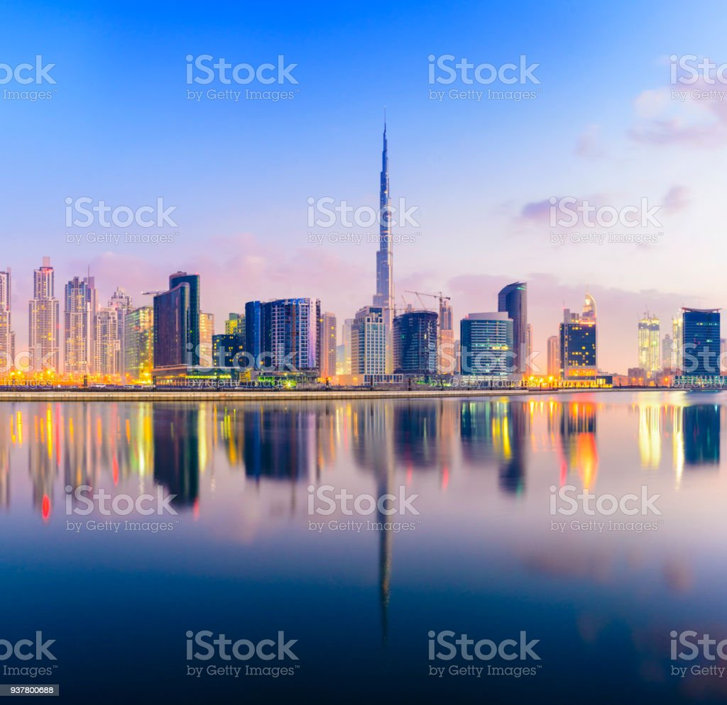 The Downtown Dubai City Skyline at Sunset stock photo