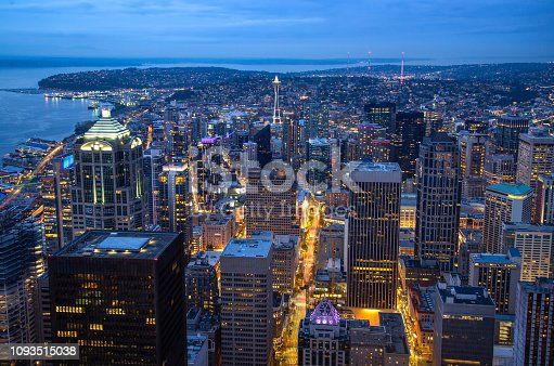 The downtown skyline at night, in Seattle, Washington.