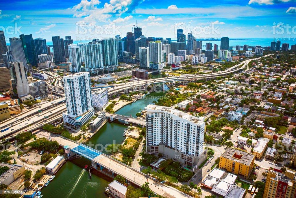 The Dowtown Area of Miami Florida Aerial View stock photo