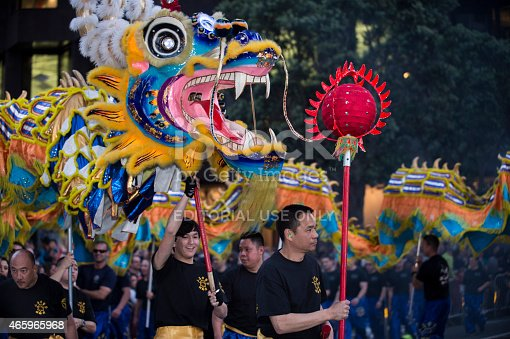San Francisco, California, USA - March 7, 2015: The Dragon Dance float making it's way through the streets of San Francisco during the annual Chinese New Year Parade.