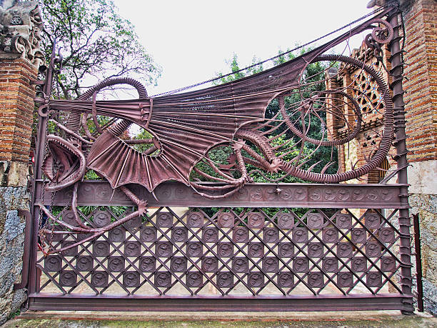 The Dragon Gate of the Güell Pavilions stock photo