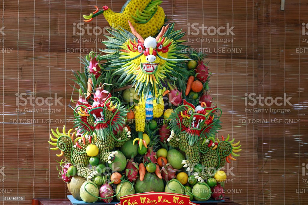 the dragon is crafted from fruit by vietnamese artisans stock photo