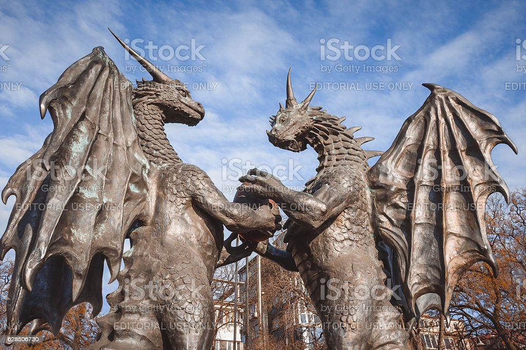 'The dragons in love' sculpture in the Sea Garden of Varna, Bulgaria stock photo