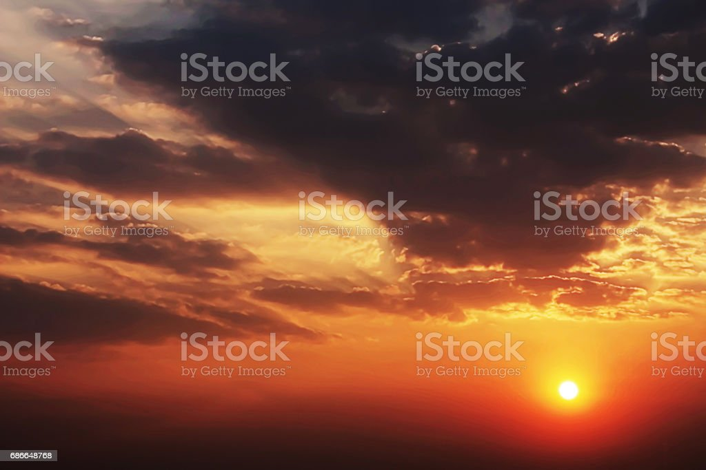 The Dramatic Moment of Sunset Sky and Clouds. royalty-free stock photo