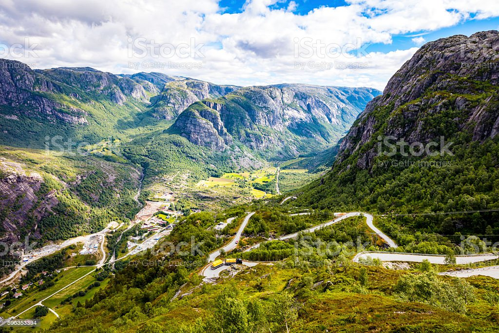 The dramatic mountain road down to Lysebotn in Lysefjorden stock photo