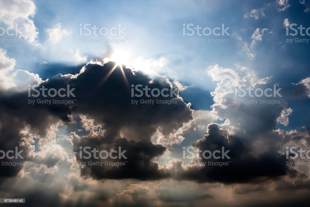 The dramatic storm Cloud and the sunlight ray. royalty-free stock photo