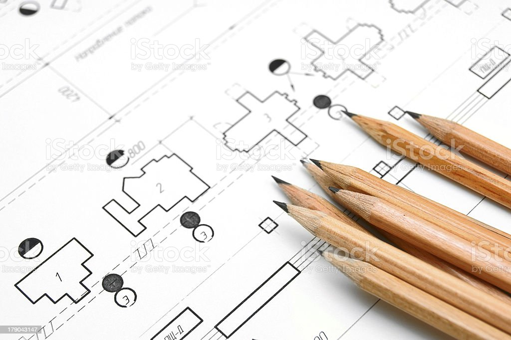 The drawing and pencils. royalty-free stock photo