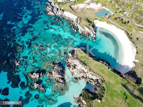 The  drone aerial view of sinky bay beach, Bermuda.